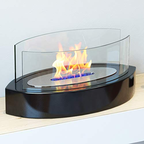 Regal Flame Veranda Ventless Indoor Outdoor Fire Pit Tabletop Portable Fire Bowl Pot Bio Ethanol Fireplace - Realistic Clean Burning Like Gel Fireplaces, or Propane Firepits (Black)