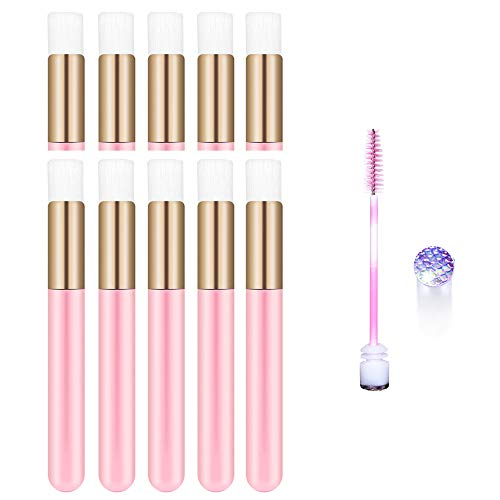 10 Pcs Pink Head Eyelash Cleaning Brush Cosmetic Brushes Peel Off Blackhead Brush Remover Tool Nose Cleaning Washing Brush Lash Cleanser Soft Brushes