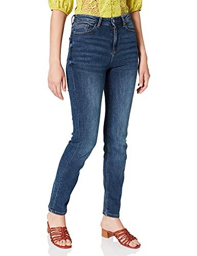Springfield Jeans Straight Algodón Reciclado Lavado sostenible Pantalones, Azul Medio, 40