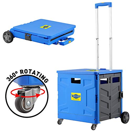 Foldable Utility Cart, 4 Wheeled Rolling Crate with Brake System Heavy Duty Shopping Cart with 360° Rolling Swivel Wheels 295 lbs Capacity Handcart for Shopping Luggage Tools Office