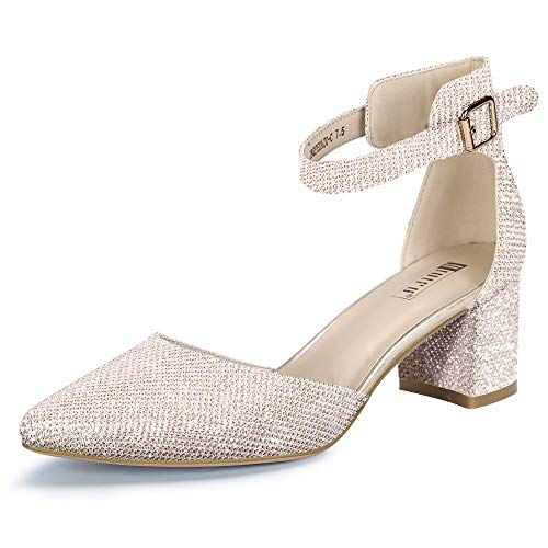 IDIFU Women's IN2 Pedazo Dress Shoes Low Block Heels Comfortable Chunky Closed Toe Ankle Strap Wedding Pumps(Gold Glitter, 9 B(M) US)