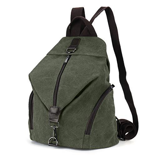 JOSEKO - Mochila de lona para mujer, gran capacidad, estilo vintage, para viajes, para el colegio, para exteriores Verde verde small