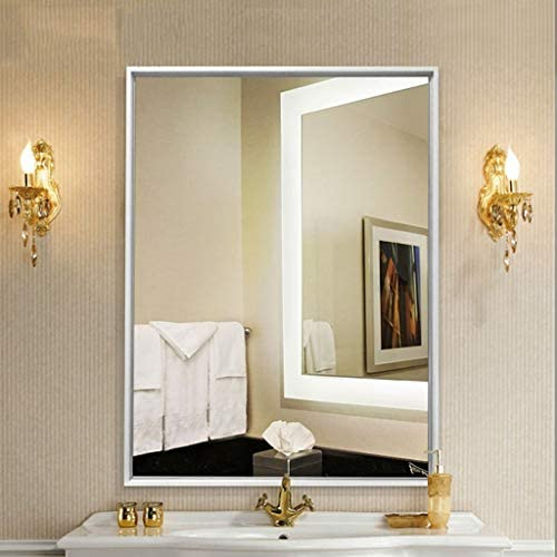 Yiyi Bathroom Mirror Square Bathroom Mirror With Border Wall Mirror With Silver Backing Mirrored Glass Panel Best For Vanity Unit Bedroom Or Bathroom 50 70cm Amazon De Home Kitchen