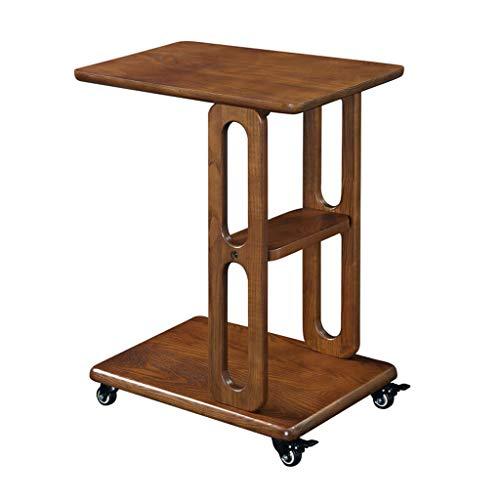 Tables basses Côté Mobile Solide Roue de Ceinture de Bois Salon canapé Table d'appoint Chambre Stockage Table d'ordinateur (Color : Brown, Size : 48 * 36 * 58cm)