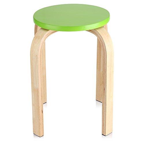 Ejoyous Sitzhocker Barhocker Rund, stapelbarer Hocker in Bonbonfarbe 4 Farben erhältlich Rutschfester 4-Bein-Hocker für Wohnzimmer Esszimmer Kinderzimmer 40 x 45,5 cm(Grün)