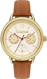 Timberland Nahant Women's Analogue Quartz Watch with White Dial and Tan Leather Strap - TBL.15646MYG-01