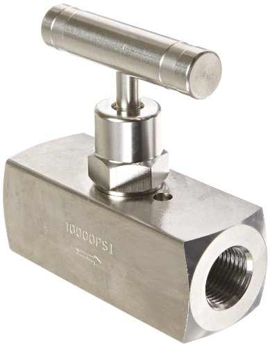 PIC Gauge NV-SS-3/8-HS-180-FXF 316 Stainless Steel Straight Needle Valve with Hydraulic Service Seat, 3/8