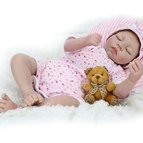 ZCPDP 55cm Naturgetreue Reborn Babys Puppen-Mädchen-weicher Silikon-Toys Realistisch Neugeborenes Kleinkind Baby Doll Geschenk für Alter 3+