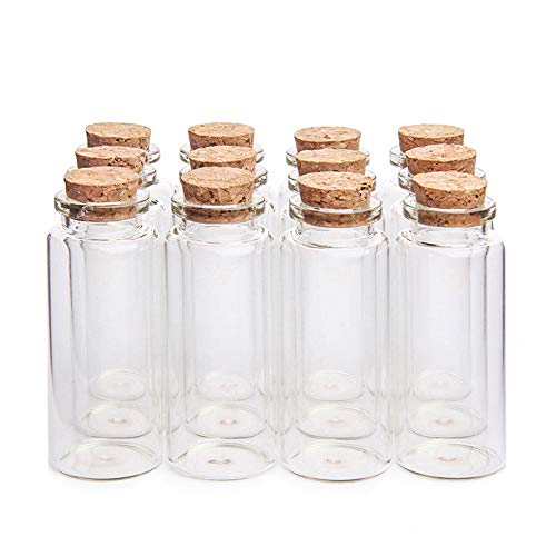 "Danmu Art - Botes de cristal con tapones de corcho de madera, 12 unidades, 30 ml, 1.18"" x 2.75"""