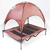 HLong 48 inches Raised Mesh Dog Bed Indoor Outdoor Recyclable Elevated Pet Air Cot with Removable Canopy Shade Tent Easy Assembly Rest Platform for Camping(Brown)