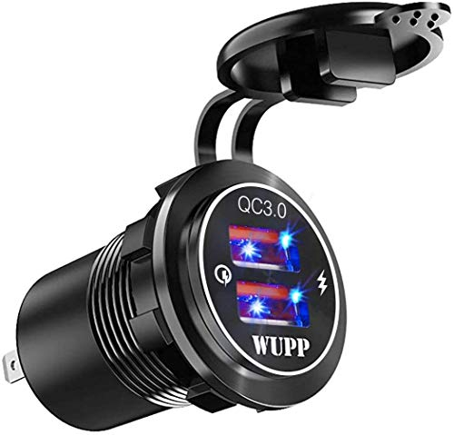 Jankr Aleación de Aluminio Mejorada Carga rápida Dual QC3.0 Conector de Cargador USB IP66 Impermeable Luz LED incorporada para automóvil Barco Marina RV Motocicleta Black