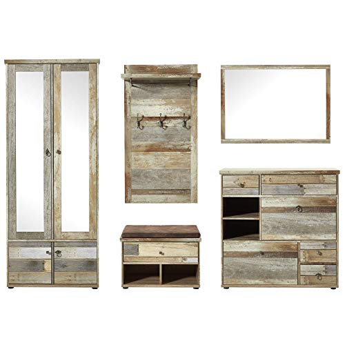 Bonanza Vintage Garderoben Set in Driftwood Optik - Retro Flurgarderobe für Ihren Eingangsbereich - 274 x 188 x 40 cm (B/H/T)