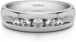 TwoBirch Sterling Silver Wide Channel Set Men's Ring with Open End Design With Cubic Zirconia(0.75Ct, Size 9.5)