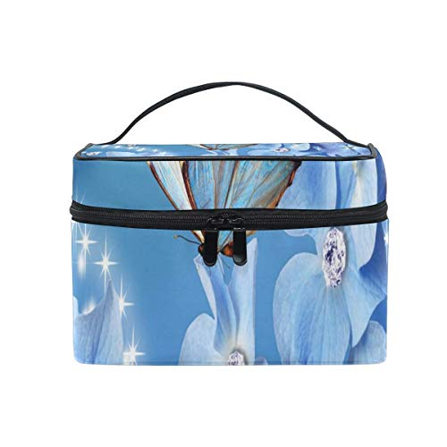 Trousse de maquillage Blue Butterfly Cosmetic Bag Portable Large Toiletry Bag for Women/Girls Travel