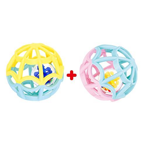 Set Dos Pelotas Sensoriales Para Bebés + 0 Meses a 2 años Mordedores Coloridos Con Sonidos Unisex