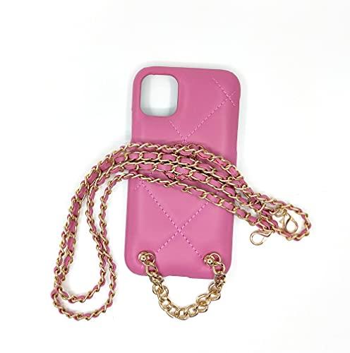 LIUYAWEI Estuche para teléfono móvil con Cadena Cruzada de Oro Trenzado para iPhone 12 Mini 11 Pro XS MAX 7 8 Plus XR, Negro, para iPhone XS