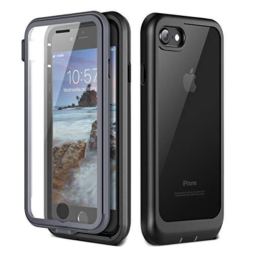 Prologfer Funda para iPhone 7/8 360 Grados Transparente Carcasa Resistente con Protector de Pantalla incorporada Prueba de Golpes y Suciedad Cover para iPhone 7/8 Negro