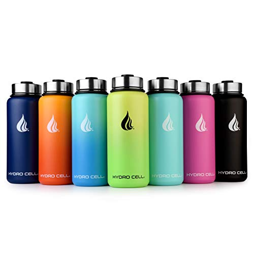 HYDRO CELL Stainless Steel Water Bottle with Straw & Wide Mouth Lids...