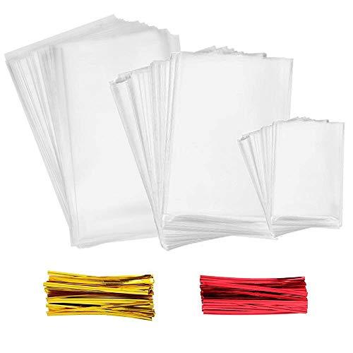 INTVN Cellophan Taschen 300 Stück Mehrere Größen Klar Cello Taschen mit 300 Stück Twist Krawatten 2 Farben für Transparente Süßigkeitentüten für Bonbons, Schokolade