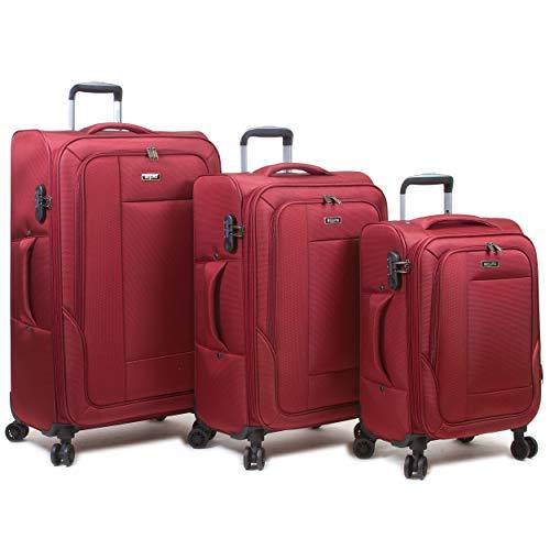 Dejuno Twilight Lightweight Nylon 3-Piece Spinner Luggage Set, Burgundy