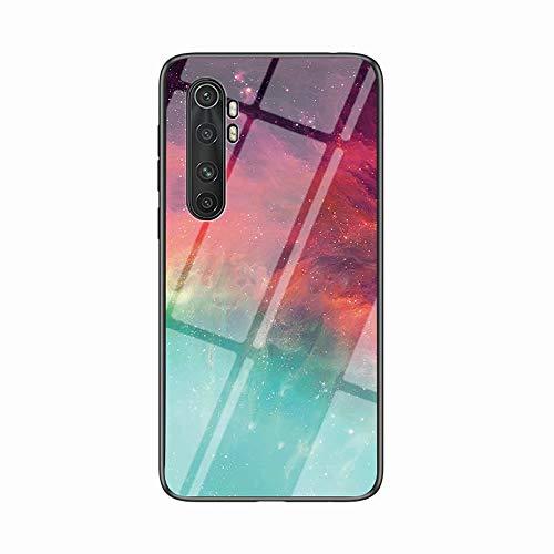 Miagon Glas Handyhülle für Xiaomi Mi Note 10 Lite,Himmel Serie 9H Panzerglas Rückseite mit Weicher Silikon Rahmen Kratzresistent Bumper Hülle für Xiaomi Mi Note 10 Lite,Rot Grün