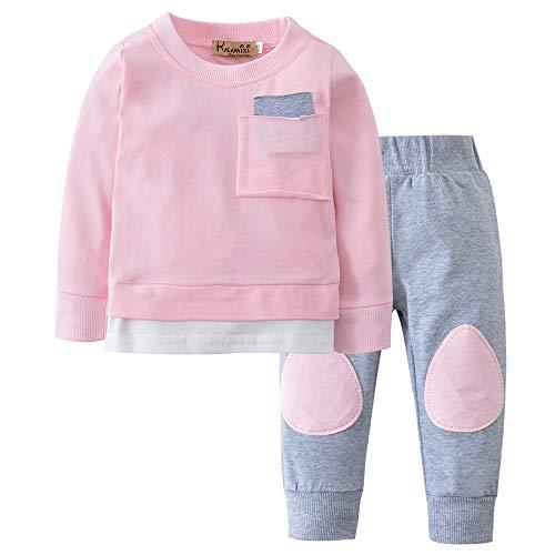 2 stks Baby Meisje Jongen Kids Kleding Set Lange Mouw Sweatshirt Tops Shirt + Broek Leggings Kleding Outfits Set Pasgeboren Baby Lente Zomer Leuke Set Gift voor 0-24 Maanden