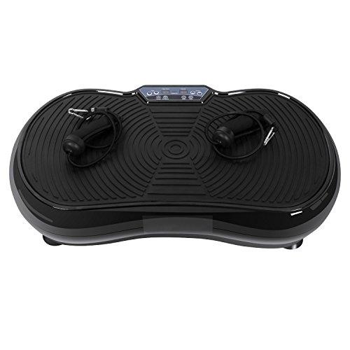 WOOKRAYS Vibrationsplatte Fitness Vibrationsgeräte mit Leisem Motor, mit Bluetooth USB Lautsprecher, rutschfest Große Fläche, LCD Display, Inkl. Fernbedienung, Trainingsbänder