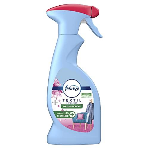 Febreze Textilerfrischer Spray Desinfektion Pinke Nelken 375ml, entfernt 99,9{dc58c616924c222dcc6850a36472def6cbdfc987822c9bd3079217d43de7c2e9} der Bakterien und Gerüche aus nicht maschinenwaschbaren Textilien und hinterlässt einen leichten Frischeduft