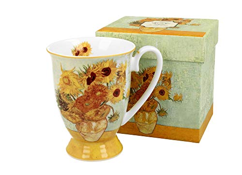 Duo Kaffeetasse Sunflower Van Gogh mit Fuß 300ml große Tasse XXL Teetasse Kaffee-Tasse Tee-Tasse Tasse für Tee und Kaffee Blumenmotiv Kaffeebecher aus Porzellan Kaffee-Becher Teebecher Tee-Tasse