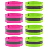 WXJ13 8Pcs Reflective Armbands, Hi Vis Reflective Wristbands Reflective Running Ankle Bands Safety Adjustable Strap for Outdoor Jogging, Cycling, Motorcycle Riding, Walking and Running