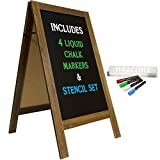 Large Sturdy Handcrafted 40' x 20' Wooden A-Frame Chalkboard Display / 4 Liquid Chalk Markers & Stencil Set/Sidewalk Chalkboard Sign Sandwich Board/Chalk Board Standing Sign (Rustic)