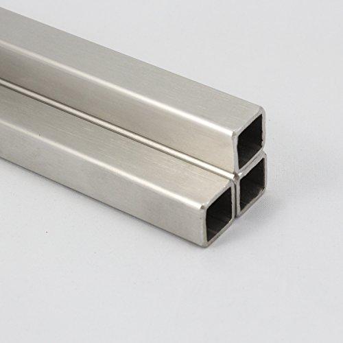 Edelstahl Quadratrohr V2A-Vierkantrohr VA-Korn 240 geschliffen Von 15x15x1,5mm bis 60x60x2mm (30x30x3mm 1500mm)