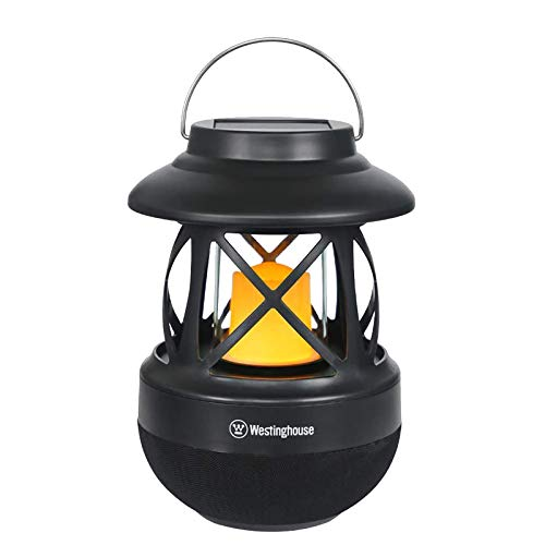 Westinghouse Intelligent 2-in-1 Solar Bluetooth Speaker LED Lantern with Hook IPX4 Water Resistant Solar Lights Outdoor Wireless Flame Speakers USB Charging Candle Lamp for Garden Porch Outdoors