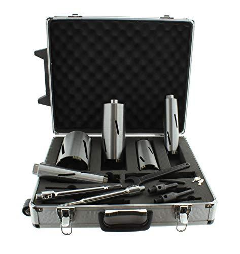 Diamant Bohrkronen Set M16 Trockenbohrbox Nutzlänge 180mm Durchmesser 40, 52, 68, 82, 102mm mit Zentrierbohrer, SDS plus und 6-kant Adapter Betonbohrkrone Kernbohrer