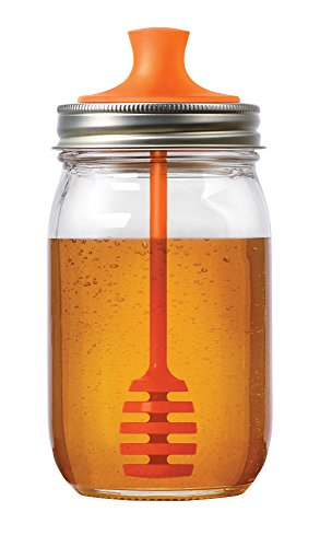 Jarware Honey Dipper Lid for Regular Mouth Mason Jars, Orange