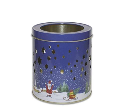 Perfekto24 Teelichtdose 'Christmas' mit Deckel, Metall Dose 11 x 12 cm groß, rund, leer, blau, Blechdose, Dose Teelicht, Windlicht Weihnachten, Weihnachtslicht