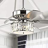 JONATHAN Y JYL9706A Transitional Mandy 3-Light Fandelier with Remote, Crystal Prism Drum LED Ceiling Fan, 52', Chrome