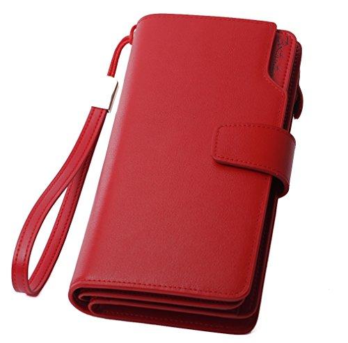 BOSTANTEN Vera Pelle Donna Portafoglio Grande capacità Sezione con Cerniera per iPhone 8/7plus, 22 Slot per Carte (Rosso)