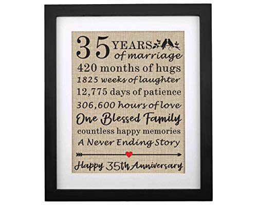 Framed 35th Anniversary Burlap Print Gifts for Parents 35th Wedding Anniversary Keepsake Gift for Mom & Dad Couples 35th Anniversary Decorations Gift for Wife 35th Anniversary Husband