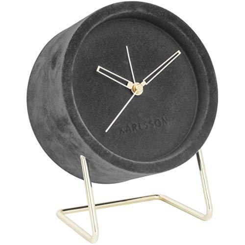 Karlsson - wekker, tafelklok - Lush - van fijn fluweel - kleur: donkergrijs - afmetingen (LxBxH): 18x14x8 cm