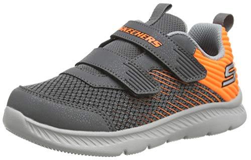Skechers Comfy Flex 2.0, Zapatillas Niños, Gris Carbón Textil Naranja Recorte Ccor, 22