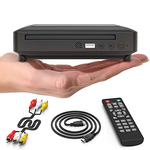 Ceihoit Mini DVD Player, DVD CD/Disc Player for TV with HDMI/AV Output, HDMI/AV Cables Included, HD 1080P Supported Built-in PAL/NTSC System USB Input