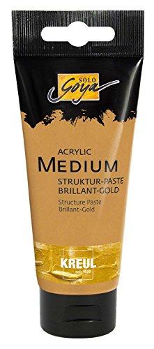 Kreul 85701 - Solo Goya Acrylic Medium, 100 ml Tube, Strukturpaste Brillant - Gold, pastose Spachtelmasse, trocknet glänzend und deckend auf