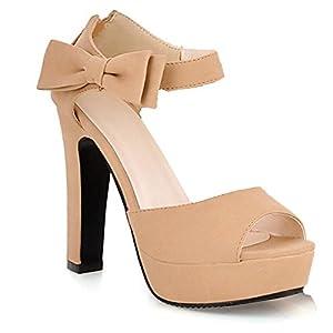 Minetom Donna Elegante-tacco alto peep-toe scarpe con l'arco Nodi