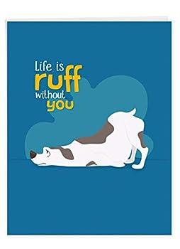 Doggone Awesome Notes Ruff Miss You - Cute Cartoon Dog I Miss You XL Appreciation Card w/Envelope - Creative Pun Silly Animal XL Greeting Card 8.5 x 11 Inch J6586CMYG
