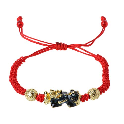 RK-HYTQWR Pi Xiu Charm Color Change Temperature Kabbalah Red String Braided Mood Bracelets,Color Changing Pixiu Bracelet