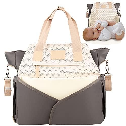 MIXIRL® Wickeltasche - 35x12x34cm - mit integrierter Wickelunterlage & Kinderwagenbefestigung für unterwegs - wasserabweisend, geruchsneutral & langlebig - ideal für jede Mama
