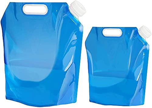 Wuhanyimang Paquete de 2 contenedores de agua de 5 l/10 l, bolsa de agua plegable al aire libre para el transporte de agua del coche contenedor para el deporte, camping, senderismo, picnic barbacoa