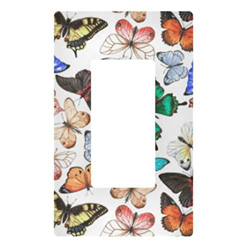 Placa decorativa de pared con interruptor de luz – Mariposas, enchufes blancos, cubierta de placa de interruptor de 3 bandas para dormitorio, cocina, decoración del hogar