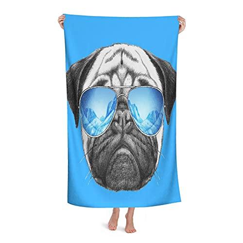 Grande Suave Toalla de Baño Manta,Retrato de Barro Amasado con Gafas de Sol de Espejo Dibujado a Mano de Animal doméstico DIV,Hoja de Baño Toalla de Playa por la Familia Hotel Viaje Nadando,32' x 52'